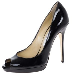 Jimmy Choo: Black Patent Leather Peep-Toe Pumps